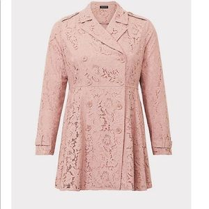 Torrid NWT Blush Pink Lace Trench Coat